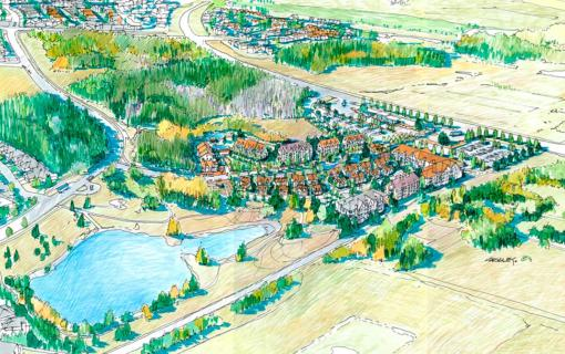 Aerial view of the development concept (center right) in its existing context.
