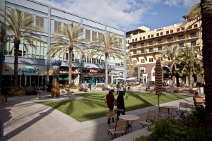 Valencia Park with its astroturf, bordered by palms and restaurants