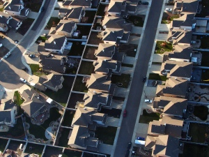Suburban housing sprawls across the landscape in Edmonton, Canada