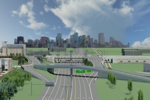 Rendering of the interchange under construction at 23 Avenue and Gateway Boulevard, Edmonton - www.23avenue.com