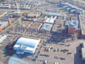 NAIT's crowded campus, with City Centre Airport hangars in the foreground